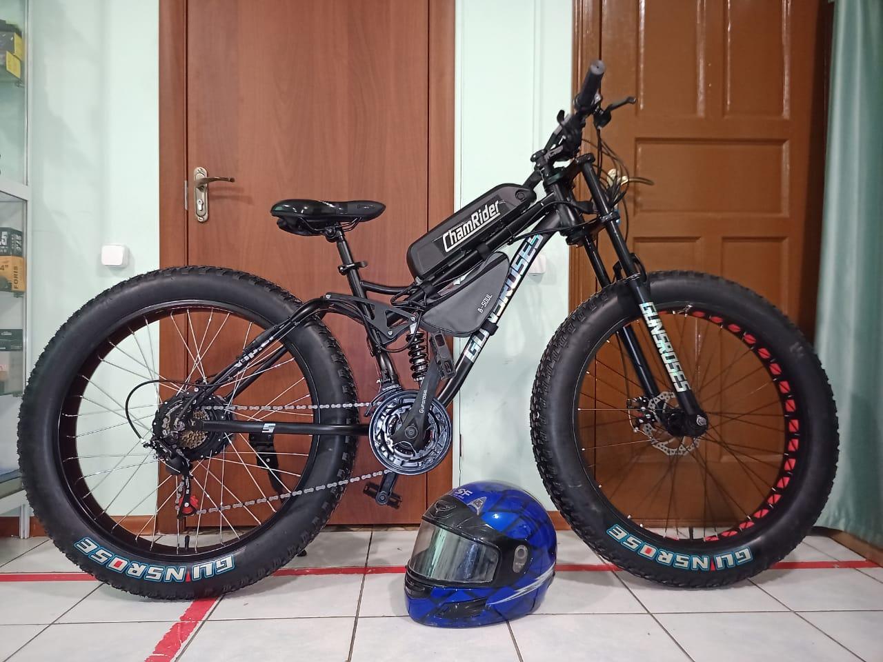 """Электровелосипед 48v 750w (max 1350w), аккум. Li-ion 48v 14,4 A/H. Колеса 26""""x4"""". Рама 21"""" - фото 1"""