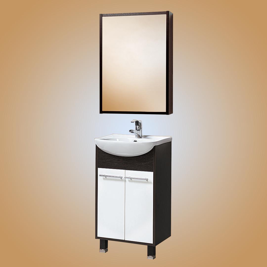 Комплект Тумба с умывальником и зеркалом для ванной «Акваль Карина» 50 см. (Умывальник «Люкс-Сити-Т-Л (50)»)