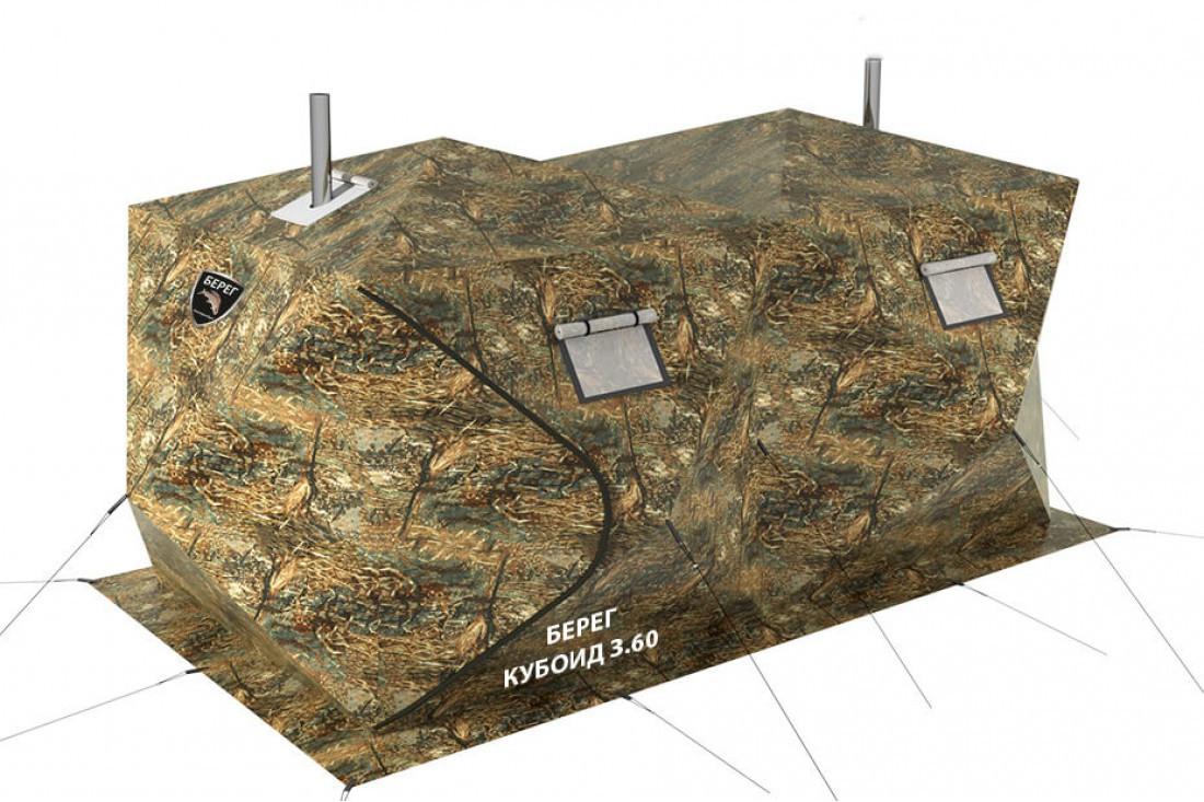 Палатка всесезонная Берег Кубоид 3.60 двухслойная, непромокаемый пол из ПВХ размер 3,6 x 1,8 x 1,9 м - фото 1
