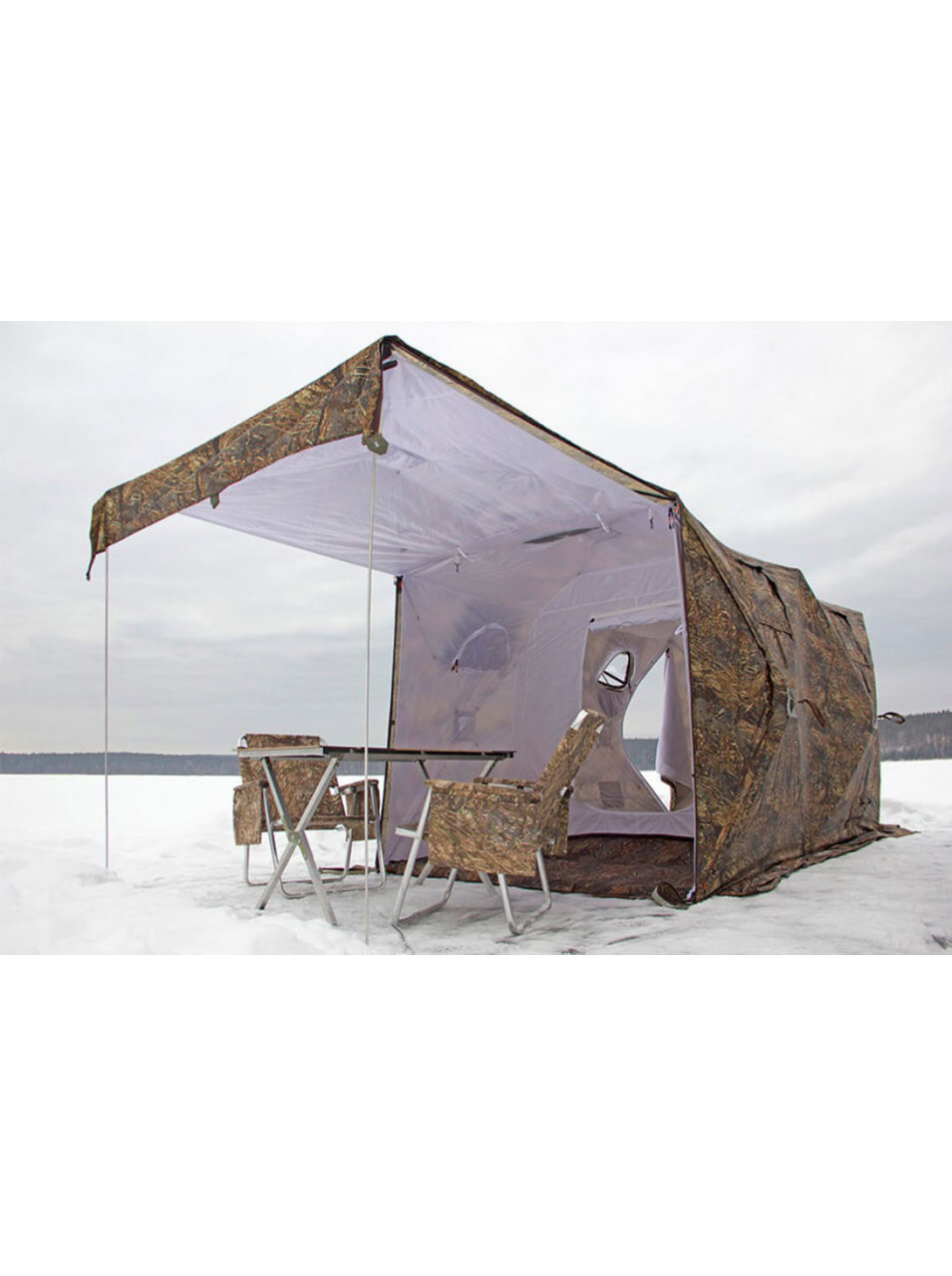 Палатка всесезонная Берег Кубоид 3.60 двухслойная, непромокаемый пол из ПВХ размер 3,6 x 1,8 x 1,9 м - фото 4