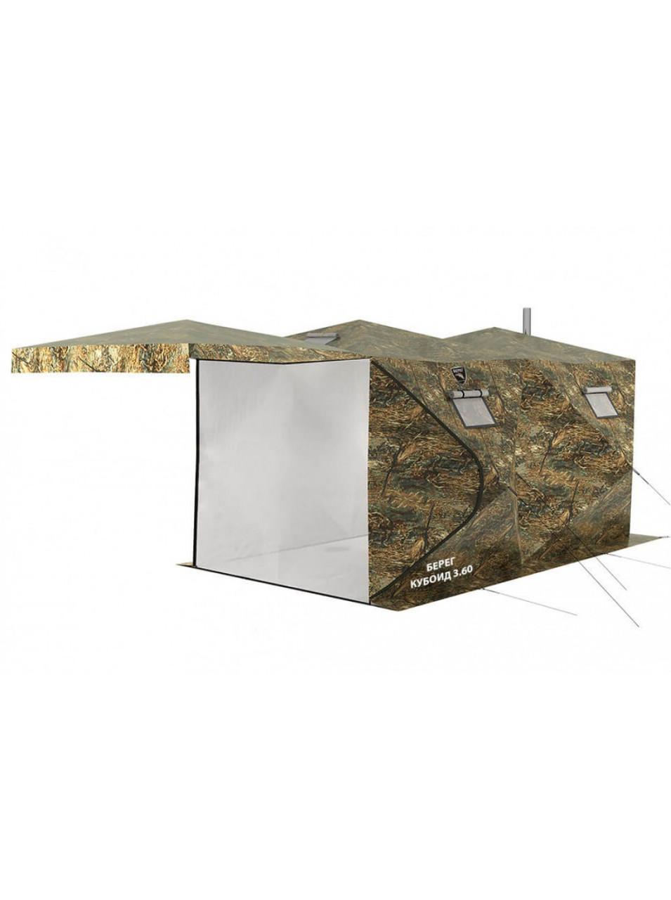 Палатка всесезонная Берег Кубоид 3.60 двухслойная, непромокаемый пол из ПВХ размер 3,6 x 1,8 x 1,9 м - фото 8
