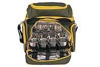Сумка для пикника CONDOR на 4 персоны TWPB-3180P45. Металлическая посуда, изотермический отдел, 2 те