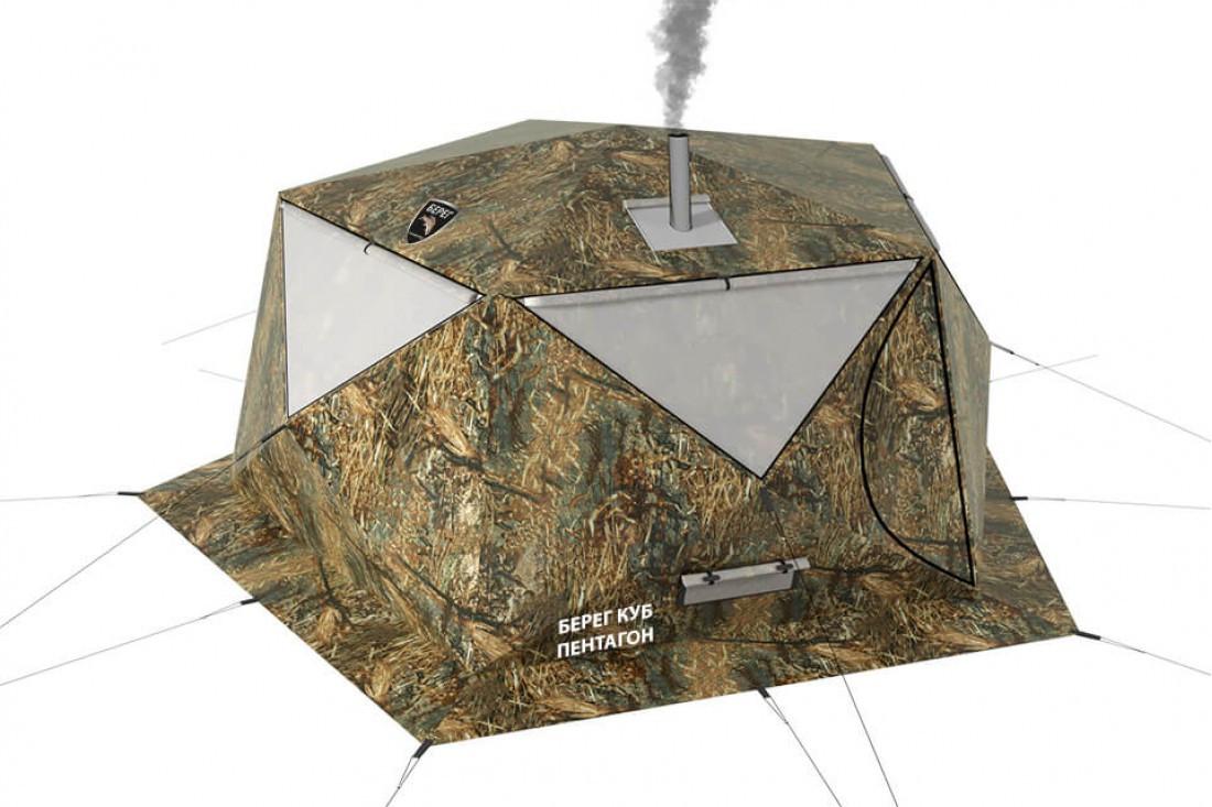 Палатка всесезонная Берег КУБ Пентагон двухслойная, площадь 8,33 м² - фото 1