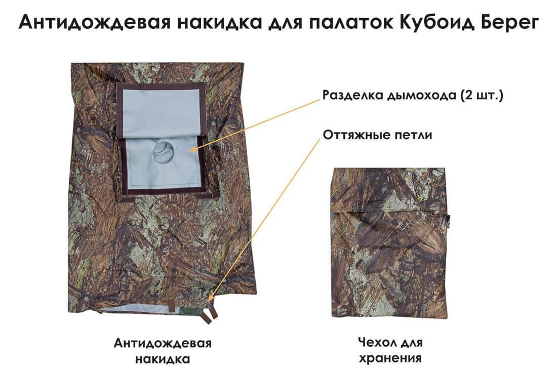 Палатка всесезонная Берег Кубоид 3.60 двухслойная, размер 3,6 x 1,8 x 1,9 м. - фото 3
