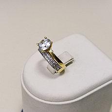 Кольцо с цирконом / золото / размер 17