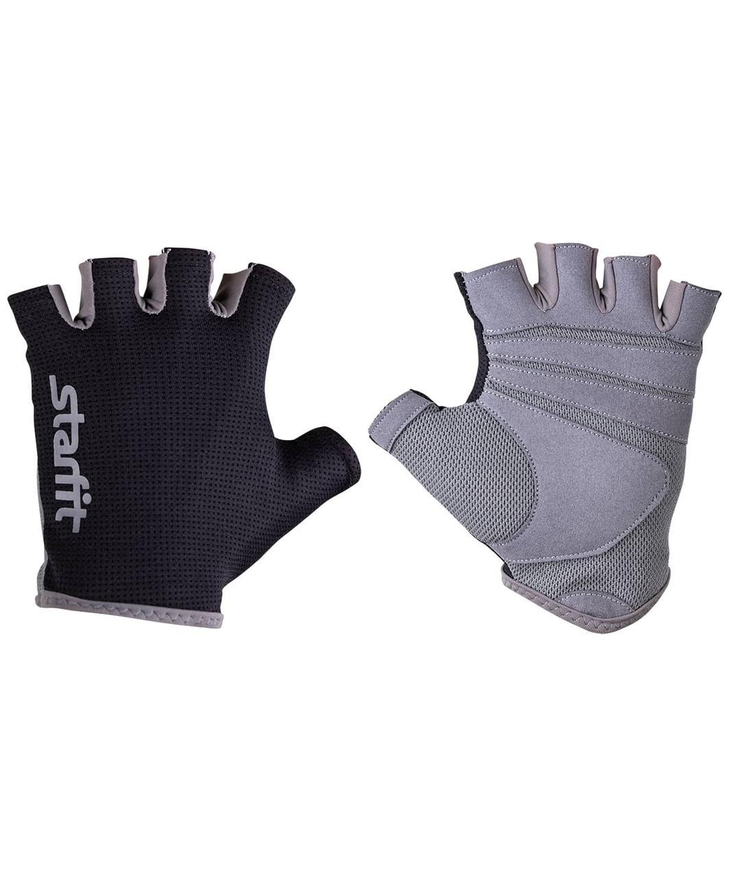 Перчатки для фитнеса SU-127, черный/серый Starfit