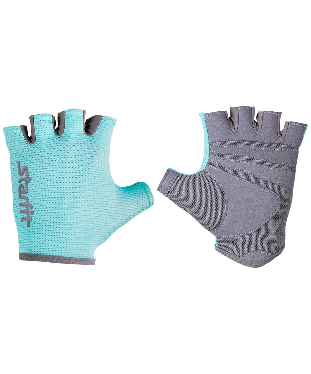 Перчатки для фитнеса SU-127, мятный/серый Starfit