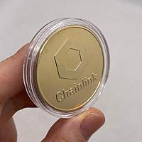 Сувенирная монета Chainlink, золото, толщина 3 мм