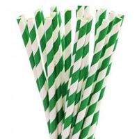 Трубочки для напитков бумажные ГЕОВИТА D6 мм L197 мм, полоска зелёная белая