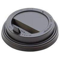 Крышка для стакана Интерпластик-2001 200 мл D80 мм, пластик черный с носиком