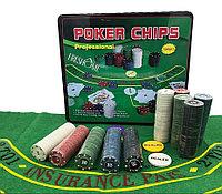 Покерный набор в жестяном кейсе на 500 фишек с сукном