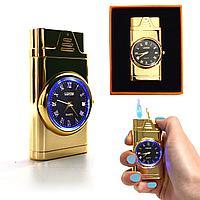 Подарочная зажигалка газовая с часами с подсветкой сувенирная Lighter золотистая