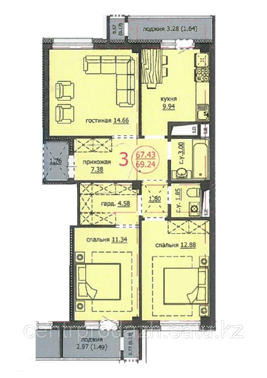3 комнатная квартира ЖК Аскер 69,24 м2