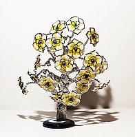 """Статуэтка """"Дерево от сглаза, оберег"""", 25*30 см, серебристый ствол, желтые цветы"""