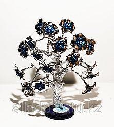"""Статуэтка """"Дерево от сглаза, оберег"""", 25*30 см, серебристый ствол, синие цветы"""