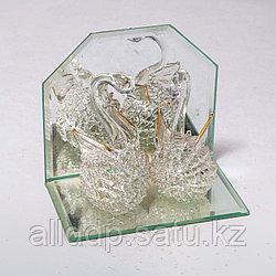"""Статуэтка из стекла """"Хрустальные лебеди"""" (10см/10см)"""