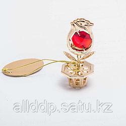 """Сувенир """"Роза с красным камнем"""" 5 см"""