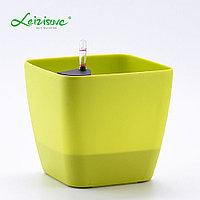 Кашпо для цветов с автополивом Leizisure HG-3109, 17,5x17,5x15 см, зеленый
