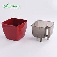 Кашпо для цветов с автополивом Leizisure HG-3109, 17,5x17,5x15 см, красный