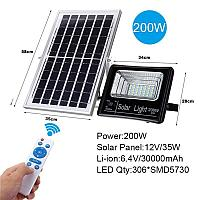 Прожектор с солнечной батареей и пультом управления, 200 Вт