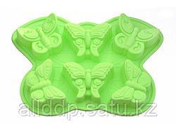 6660 FISSMAN Форма для выпечки 6 кексов БАБОЧКА 32,5x23x3,8 см, цвет ЗЕЛЕНЫЙ ЧАЙ (силикон)