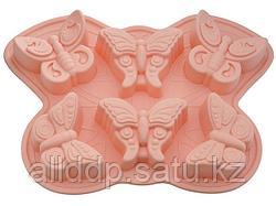 6661 FISSMAN Форма для выпечки 6 кексов БАБОЧКА 32,5x23x3,8 см, цвет РОЗОВАЯ ГВОЗДИКА (силикон)