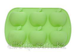6664 FISSMAN Форма для выпечки 6 кексов ЯБЛОКИ 26x17,8x3 см, цвет ЗЕЛЕНЫЙ ЧАЙ (силикон)