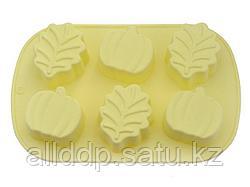 6666 FISSMAN Форма для выпечки 6 кексов ЛИСТЬЯ, ЯБЛОКИ 25x16,8x3,8 см, цвет ПАЛЕВЫЙ (силикон)