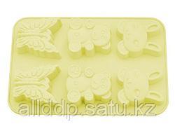 6674 FISSMAN Форма для выпечки 6 кексов ЗАЙЧИК, МИШКА, БАБОЧКА 26x18,3x2,8 см, цвет ПАЛЕВЫЙ (силикон)