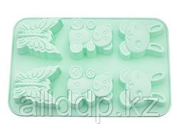 6675 FISSMAN Форма для выпечки 6 кексов ЗАЙЧИК, МИШКА, БАБОЧКА 26x18,3x2,8 см, цвет АКВАМАРИН (силикон)