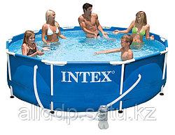 Бассейн каркасный 305х76 см, V-4485л, Intex Metal Frame Pool 28202 фильтр в комплекте