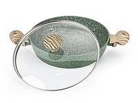 4316 FISSMAN Сотейник MALACHITE 26x6,5 см / 2,85 л со стеклянной крышкой и индукционным дном (алюминий с антип