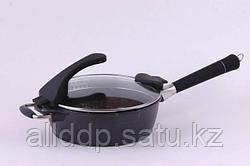 4563 FISSMAN Глубокая сковорода SIROCCO 28 см со стеклянной крышкой с индукционным дном (алюминий с керамическ