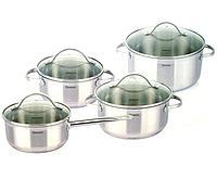 5816 FISSMAN Набор посуды GABRIELA 8 пр. со стеклянными крышками (нерж. сталь)