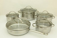 5817 FISSMAN Набор посуды GABRIELA 10 пр. со стеклянными крышками (нерж. сталь)