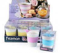 9320 FISSMAN Стакан 280 мл с ситечком для заваривания чая БАБОЧКА (керамика, силикон)