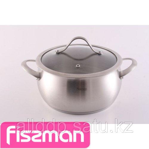 5241 FISSMAN Кастрюля CROCUS 16x8 см / 1,6 л со стеклянной крышкой (нерж. сталь)