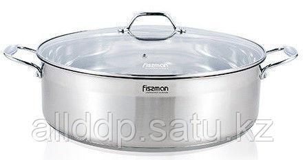 5415 FISSMAN Низкая кастрюля RAMADAN 28x14 см / 8 л со стеклянной крышкой (нерж. сталь с индукционным дном)