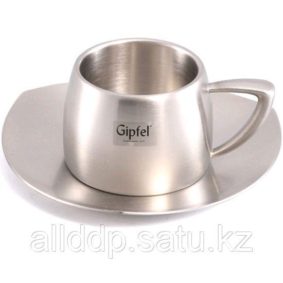 """8524 GIPFEL Чашка с блюдцем для эспрессо стальная с двойными стенками 0,08 л """"BARETTI"""""""