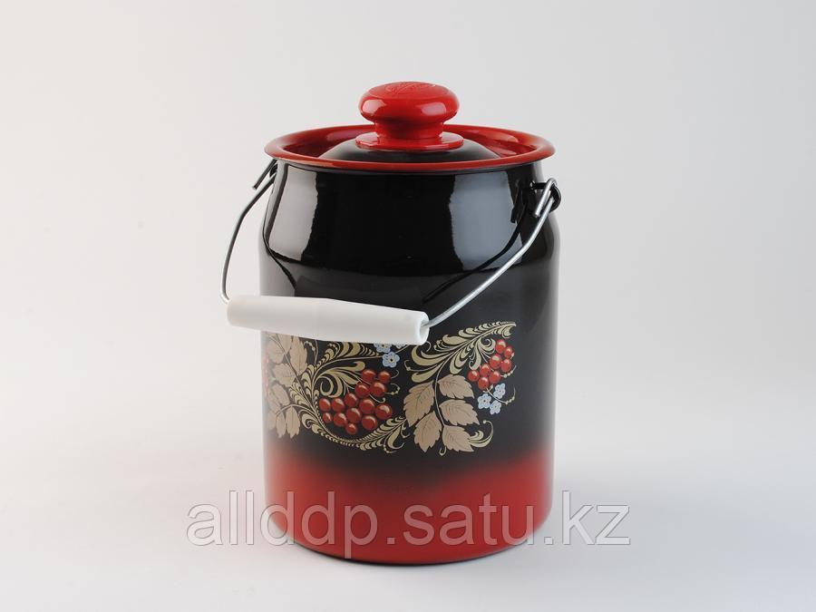 Бидон 3 л декор красно-черный с пластмассовой кнопкой С0612.38