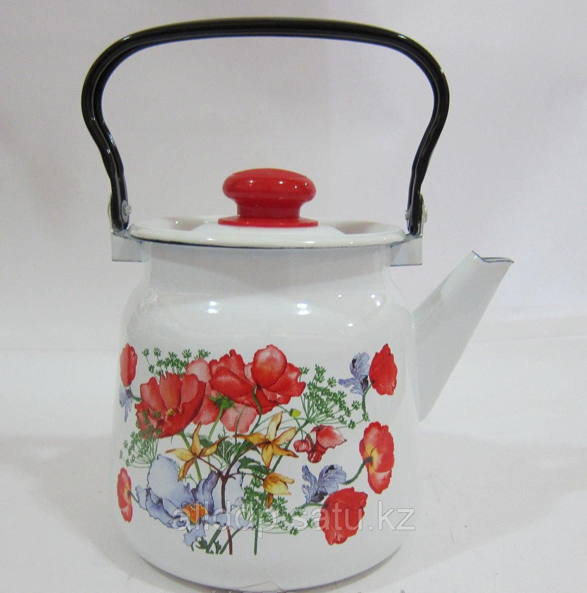 Чайник 3,5 л декор белый с кнопкой С2715.3