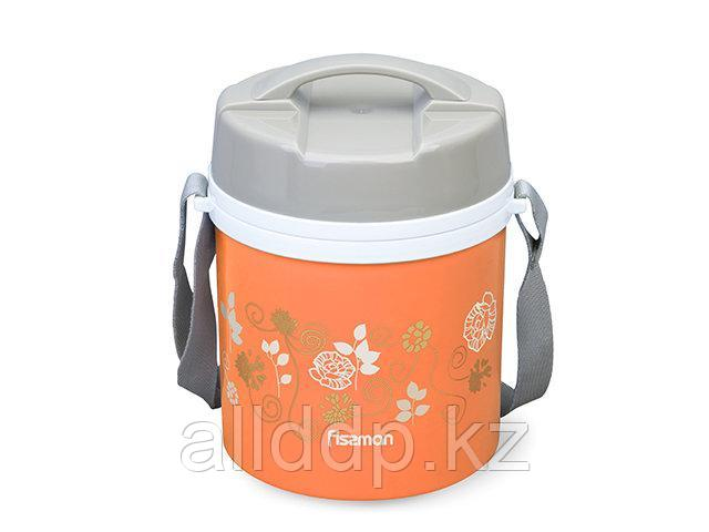 7940 FISSMAN Термос для пищи с широким горлом 1400 мл ОРАНЖЕВЫЙ с двумя контейнерами и ложкой (пластиковый кор