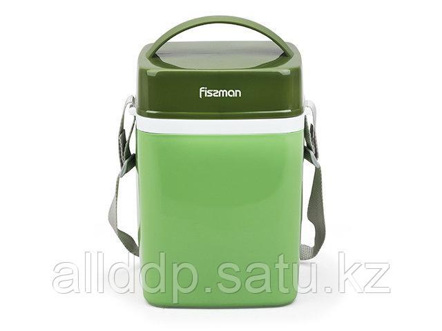 7942 FISSMAN Термос для пищи с широким горлом 2000 мл ЗЕЛЕНЫЙ с тремя контейнерами и ложкой (пластиковый корпу