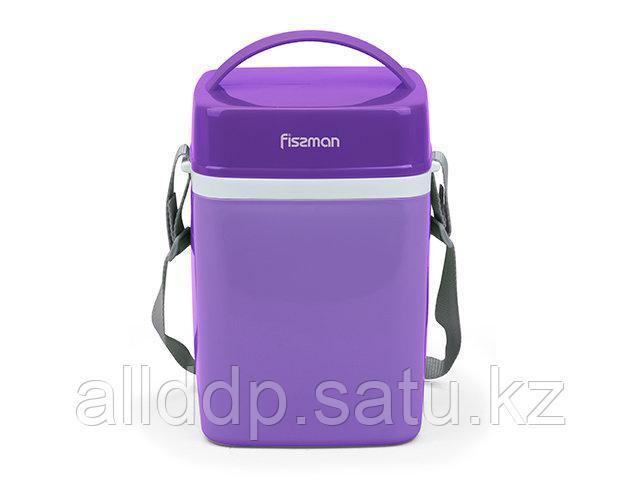 7943 FISSMAN Термос для пищи с широким горлом 2000 мл ФИОЛЕТОВЫЙ с тремя контейнерами и ложкой (пластиковый ко