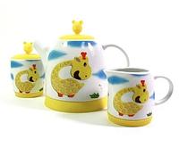 9366 FISSMAN Чайный набор: сахарница 140 мл, молочник 110 мл, заварочный чайник 500 мл ЖИРАФ (керамика, силико