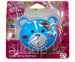"""LED ночник в розетку """"Мишка"""", синий"""