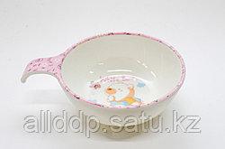 Детская пластиковая супница, розовая, D 9 см