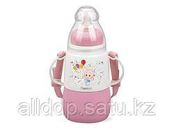 7952 FISSMAN Термобутылочка для кормления с соской 150 мл РОЗОВАЯ (пластиковый корпус со стеклянной колбой)