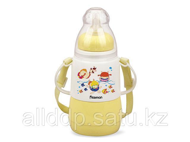 7953 FISSMAN Термобутылочка для кормления с соской 150 мл ЖЕЛТАЯ с двойными стенками (пластик)