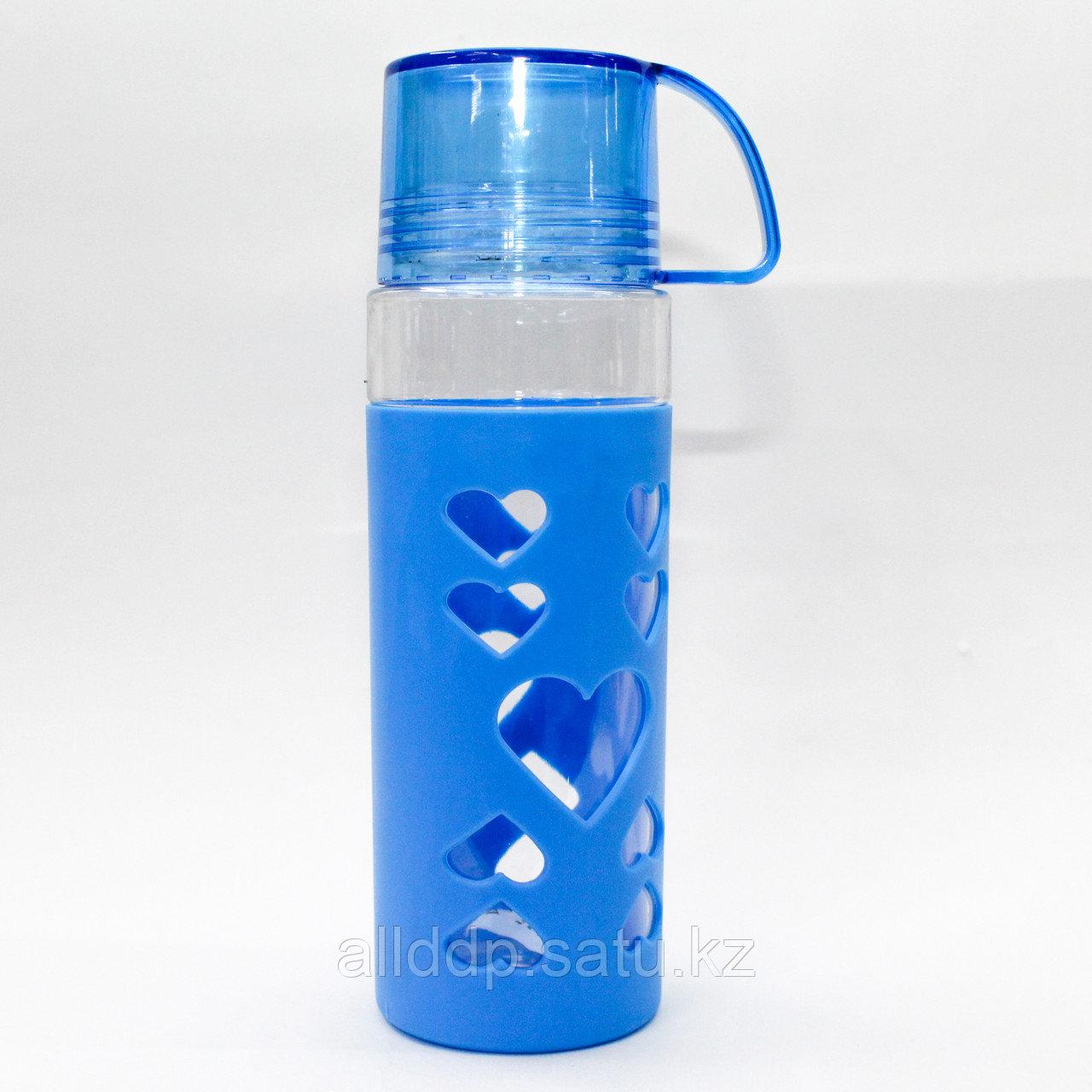 Эко бутылка для воды со стаканом, 0,5 л, голубая